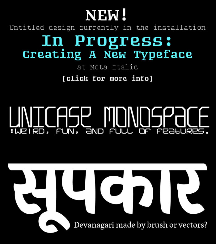 Untitled, Unicase Monospace, and Chef Previews
