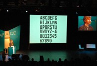 Timothy Donaldson showing Karlgeorg Hoefer's great work at TYPO Berlin 2009