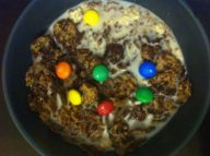 Stupid(ly yummy) chocolate cereal was too brown. Found a way to brighten it up: