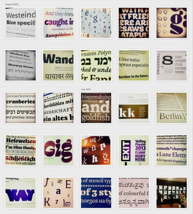 Our Instagram stream has been populated with Mastering Type specimens http://bit.ly/11CihVW