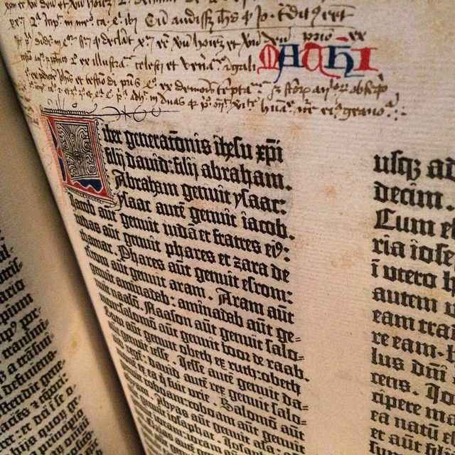A real Gutenberg Bible from the lobby of...