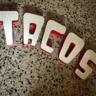 Taco stall sign in progress…