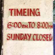SUNDAY CLOSED